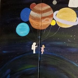 NWT Original Acrylic 2Panel Painting Orion Planets